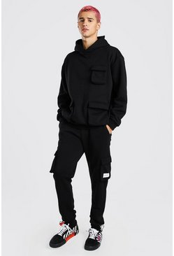 Black Loose Fit Cargo Hooded Tracksuit With Tab