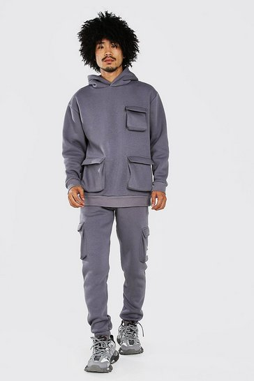 Slate grey Loose Fit Cargo Hooded Tracksuit With Tab