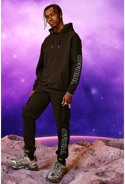 Black Official Print Cargo Hooded Tracksuit