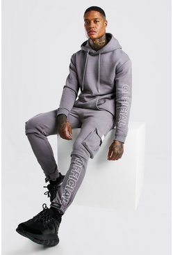 Charcoal Official Print Cargo Hooded Tracksuit