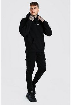 Black Oversized Official MAN Popper Detail Tracksuit