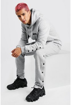 Grey marl Popper Detail Hooded Tracksuit With MAN Tab
