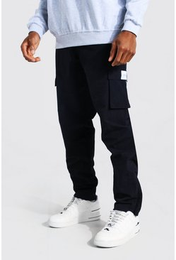 Navy Crinkle Shell Straight Leg Cargo Trouser