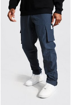 Dark grey grey Crinkle Shell Straight Leg Cargo Zip Trouser