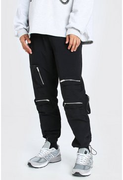 Black Crinkle Multi Zip Pocket Bungee Cord Cargo Trouser