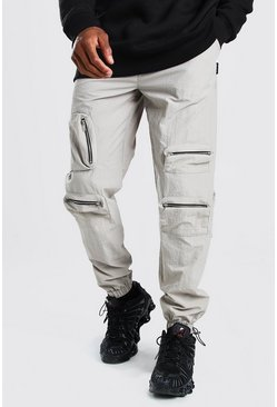 Stone Crinkle Multi Zip Pocket Bungee Cord Cargo Trouser