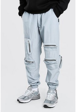 Light grey grey Crinkle Zip Pocket Bungee Cord Cargo Trouser