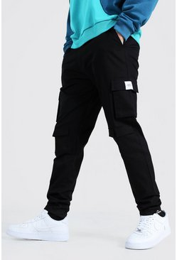 Black MAN Twill Straight Leg Woven Tab Cargo Trouser