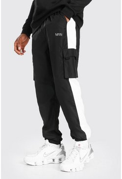 Black Original MAN Print Shell Side Panel Cargo Trouser