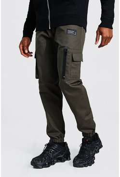 Khaki Twill Zip Pocket Cargo Trouser With Woven MAN Tab
