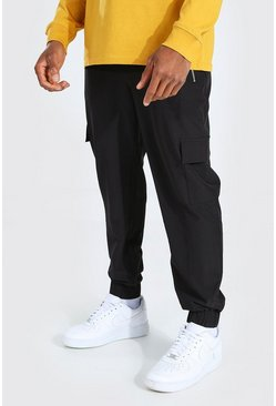 Black Stretch Shell Zip Pocket Cargo Jogger Trouser