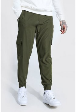 Khaki Stretch Shell Zip Pocket Cargo Jogger Trouser