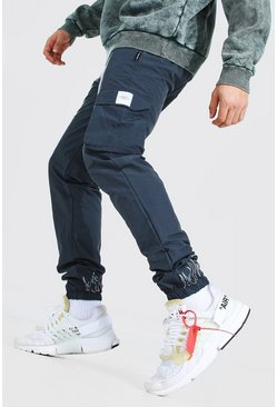 Dark grey Crinkle Cargo Reflective Flame Jogger Trouser
