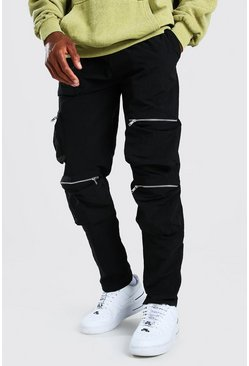Black Crinkle Shell Multi Pocket Cargo Trouser
