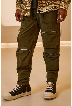 Khaki Crinkle Shell Multi Pocket Cargo Trouser