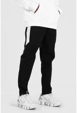 Black Crinkle Shell Pants With Colour Block Side Panel