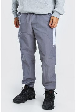 Light grey Crinkle Shell Colour Block Side Panel Trouser
