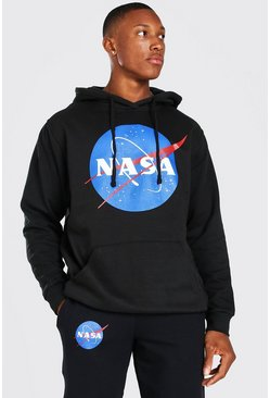 Oversized NASA Space Logo Print License Hoodie, Black negro