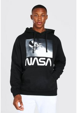 Black Oversized NASA Rocket Launch Print License Hoodie