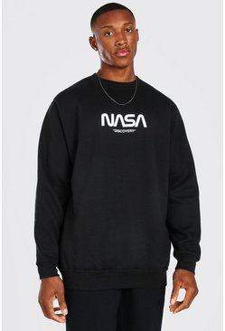 Black Oversized NASA Front Print License Sweater