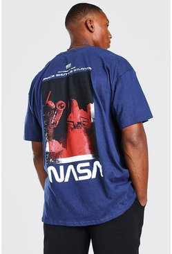 Navy Oversized NASA Back Print Licensed T-Shirt