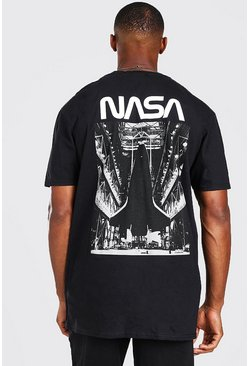 Black Oversized NASA Rocket Back Print License T-Shirt