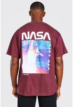 Oversize NASA Lift Off Back Print License T-Shirt, Burgundy rojo