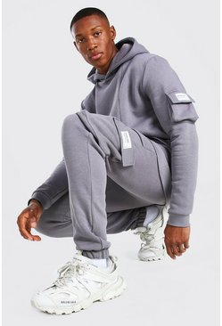 Slate grey Official MAN Cargo Hooded Panelled Tracksuit