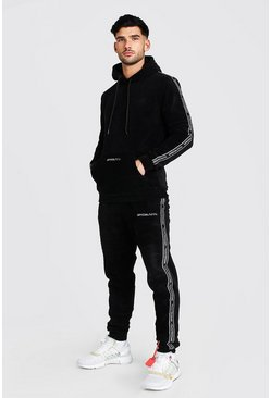 Black Official MAN Tape Polar Fleece Tracksuit