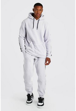 Light grey grey Official MAN Tape Polar Fleece Tracksuit