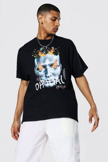 Black Oversized Official Print T-shirt