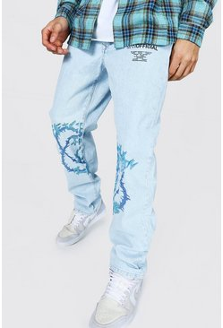 Ice blue Relaxed Fit Man Barbed Wire Jean
