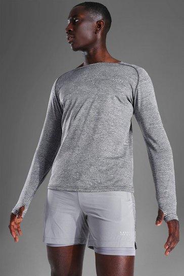 Grey Man Active Raglan Patterned Long Sleeve Top