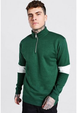 Forest green Oversized Man 1/2 Zip Colour Block Sweatshirt