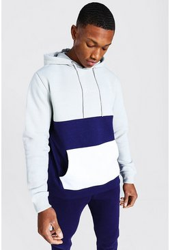 MAN Signature Colour Block Hoodie, Khaki kaki