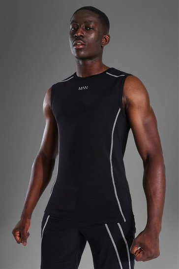 Black Man Active Muscle Fit Sleeveless Tank