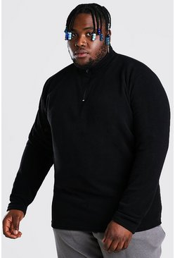 Black Plus Size Basic Polar Fleece Half Zip Top