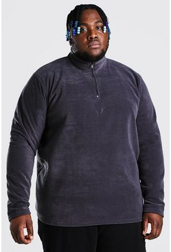Charcoal grey Plus Size Basic Polar Fleece Half Zip Top