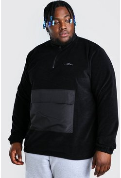 Plus Size MAN Nylon Pocket Funnel Top, Black schwarz