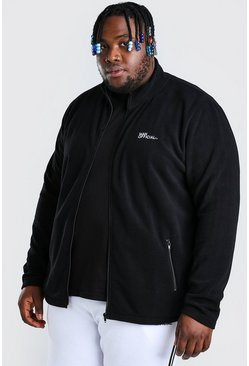 Black Plus Size MAN Polar Fleece Zip Funnel Top