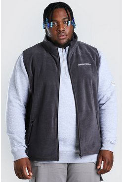 Charcoal grey Plus Size MAN Polar Fleece Funnel Gilet