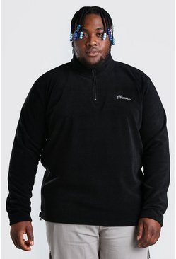 Black Plus Size MAN Fleece Half Zip Funnel