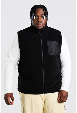 Black Plus Size Polar Fleece Gilet With Pocket