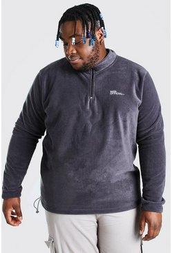 Charcoal Plus Size MAN Fleece Half Zip Funnel