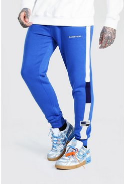 Blue MAN Official Skinny Colour Block Joggers