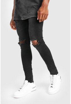 Washed black Super Skinny Bleached Distressed Jeans