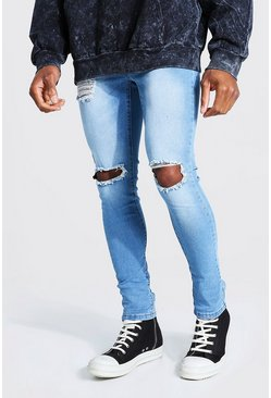 Pale blue blue Super Skinny Bleached Distressed Jeans