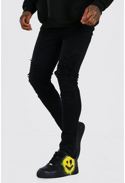 Black Super Skinny Distressed Biker Jean