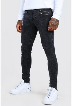 Grey Super Skinny Jean With Zip Detail