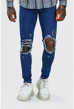 Mid blue blue Super Skinny Jeans With Distressing